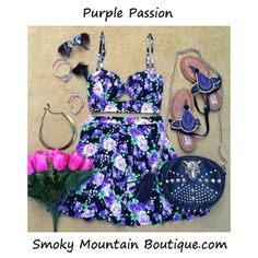 Purple Passion Matching Top and Skirt with Adustable Straps (Purple Floral Design) - Smoky Mountain Boutique