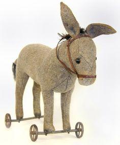 Steiff Felt Pull Along Donkey   Second Hand Antiques & Fine Art