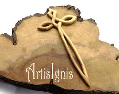 Elfic Sword Hair Stick handcarved in Olive Wood by ArtisIgnis, €26.00