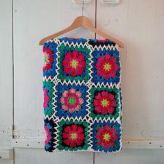 Kleurrijk deken bloemvierkanten Granny squares