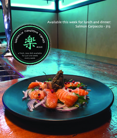 Tanoshi Tapas #006 Available this week and this week only... Salmon Carpaccio - $13 (served with a side of rice) Lunches And Dinners, Tapas, Salmon, Rice, Restaurant, Fresh, Dishes, Bar, Plate