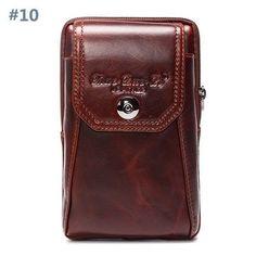 6'' Universal Genuine Leather Smartphone Bag Waist Bag Men Card Bag Cellphone Bag Crossbody Bag