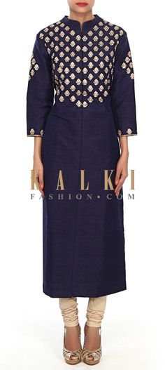 Buy Online from the link below. We ship worldwide (Free Shipping over US$100) Price-$159 Click Anywhere to Tag http://www.kalkifashion.com/navy-blue-kurti-embellished-in-zari-and-kundan-embroidered-butti-only-on-kalki.html