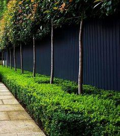 Modern Garden Fence Design For Summer Ideas 71 Black Garden Fence, Garden Fencing, Black Fence, Garden Design Ideas Uk, Diy Design, Garden Ideas, Urban Design, Contemporary Garden Design, Landscape Designs