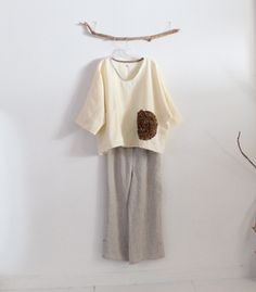 cream flower ginger linen top over size ready to wear