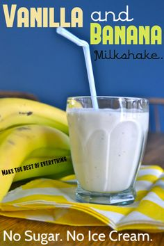 "3 Ingredient Banana Milkshake.  Frozen Bananas, Milk and Vanilla.  NO Sugar, NO Ice Cream!  I love this healthy ""makeover""!!!"