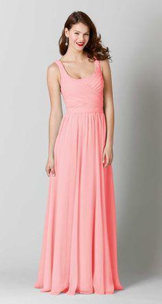 Long, chiffon coral bridesmaid dress with straps. | Kennedy Blue Sophia