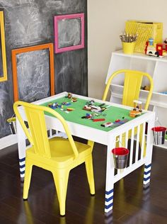 Parents asked a group of crafty bloggers to make over a diapering station with just $50 and basic supplies from their home. Get inspired by their thrifty transformations, like this one: a Lego play center.