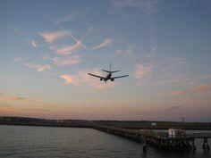 Flights arriving at Logan Airport in Boston.