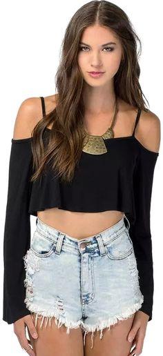 Off-shoulder Strap Crop T-Shirt