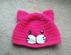 This Kitten hat will look very cute to wear with everyday attire, for Halloween or to use in photos.  ~SIZING~ Head Circumference/Length Newborn: 13.5/5 0-3 months: 15-16/6 3-6 months: 16-17/6-6.25 6-12 months: 17-18/6.25-6.75 Toddler/Preschool: 18-20/6.75-7 Child: 21/8 Small Adult: 22/8.25 Large Adult: 24/9 ~PLEASE MEASURE CIRCUMFERENCE OF HEAD AT FOREHEAD LEVEL AND FROM TOP OF HEAD TO BOTTOM OF EAR FOR A MORE ACCURATE FIT BEFORE ORDER IS PLACED~  I use 100% Soft Acrylic yarn. Hat should be…