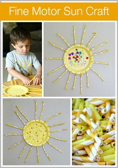 Great fine motor practice for toddlers! (Summer Crafts for Kids: Fine Motor Sun Craft) ~ Buggy and Buddy