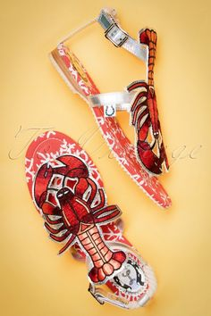 Miss L-Fire ~ 50s Rocking Lobster Sandals in Red