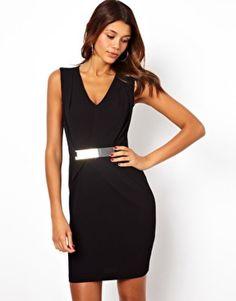ASOS Pencil Dress With Metal Belt And V Neck (Black) UK Size 14  RRP £45.00