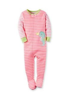Carters  Seahorse Stripe Sleep and Play Toddler Girls