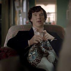 Sherlock (played by Benedict Cumberbatch) knitting