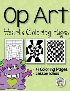 """Your students will """"LOVE"""" these Op Art Hearts, and you can sneak in some lessons about warm and cool colors.  They will also learn about how shapes can create illusory contours and how lines can be used to make a heart look 3D. This art  lesson packet  includes the presentations, handouts, rubrics and labels to help you from start to finish!"""