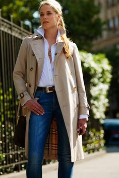 A favorite look...Burberry trench with jeans & a white shirt.