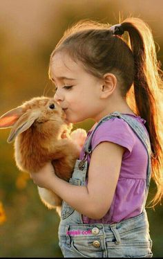 Sweet little girl and bunny cute andor funny pets children. Animals For Kids, Animals And Pets, Baby Animals, Funny Animals, Cute Animals, Funny Pets, Kids And Pets, So Cute Baby, Cute Babies