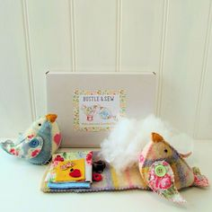 Lovebird Softie Kit by BustleandSew on Etsy Craft Kits For Kids, Craft Box, Love Birds, Softies, Diy Party, Sewing, Handmade Gifts, Fabric, Crafts