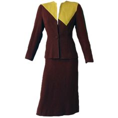 40s brown gold green Eisenberg 1940's colorblock suit