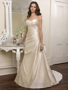 A-line Sweetheart Satin Sweep Train Champagne Beading Wedding Dresses at Millybridal.com