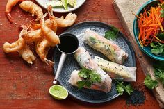 These rice paper rolls are filled with crunchy tempura prawns, avocado and spicy mayonnaise.