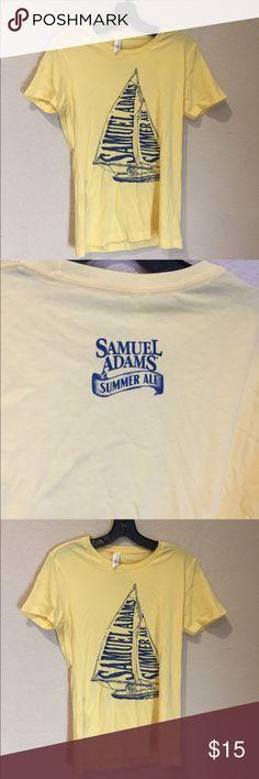 Samuel Adams sailboat summer ale tee Samuel Adams sailboat summer ale tee light yellow with blue great preloved Next Level Apparel Tops