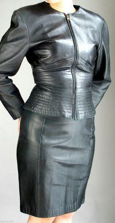 Black leather skirt jacket outfit