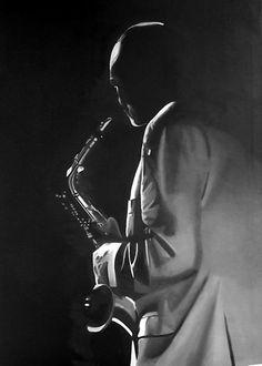 Jazz-Saxophonist 90x65,  technique: Oil on canvas autor: Petr ZEMAN, Czech republic, Vrchlabí 2009 - SOLD