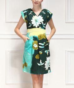 Love this Green Floral Surplice Dress on #zulily! #zulilyfinds