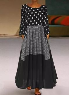 General Vacation Dresses Black Polyester Casual Round Neckline Long Sleeve Maxi A-line Dress Fall S Winter M Polka Dot L XL XXL Dress color:Black Polka Dot Maxi Dresses, Dot Dress, Dress Shoes, Blouse Dress, Maxi Dress With Sleeves, Sleeved Dress, Long Sleeve Maxi, Short Sleeve Dresses, Floryday Vestidos