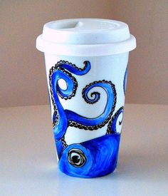 Blue Octopus Ceramic Travel Mug Eco Friendly Sea Creature Kraken Nautical painted by sewZinski on Etsy. $35.00, via Etsy.