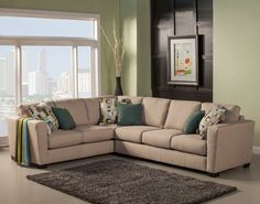 2 pc Jackson collection beige color fabric upholstered sectional sofa with square arms