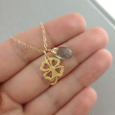 Shamrock Necklace,  March Birthstone, Moss Aquamarine, Birthday Gift, Irish, Birthstone Necklace, Personalized Gift, Aquamarine, Clover