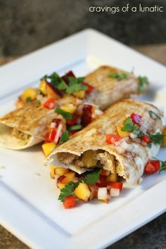 Lightened Up Enchiladas ~ An Asian inspired enchilada recipe using chicken, quinoa and topped with peach salsa.