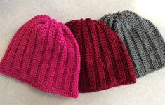 Choice of one - Gray, Fushia or maroon, winter beanie Hand crochet in a smoke & pet free environment Size adult or teen Acrylic yarn select 1 color. Crochet Beanie, Knitted Hats, Hand Crochet, Free Crochet, Pink Beanies, Red Hats, Beanie Hats, Bright Pink, Stocking Stuffers