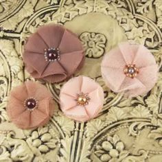 Faience Bradstreet 542955- Tulle & Sheer layered Fabric Flowers  pearl  beaded centers  - coral, browns
