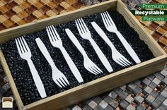 There's a gratifying feeling when serving your guests with premium heavyweight disposable flatware, smooth edges and a clean finish, they're great for any dinner or event. Available in colors; Clear, White, Black and Ivory. Here's the full collection http://www.finelinesettings.com/Flairware-Cutlery