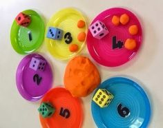 A simple play dough game for number recognition and 1 to 1 correspondence.