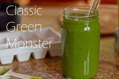 Classic Green Monster - 1 c. almond milk, 1 ripe banana, 2 handfuls spinach or 1 handful of kale, 1 T chia and /or 1 T flax seed, 1 T nut butter, ice