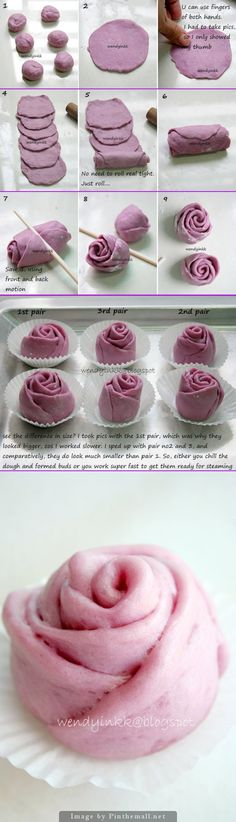 Purple sweet potato mantou in a lovely rose shape. - created via http://pinthemall.net