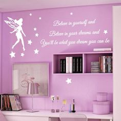 Free mail DIY vinly tinkerbell Wall Stickers for kids rooms girls children decal Home Decoration Wall Mural decor sticker Fairy Nursery, Wall Stickers Quotes, Wall Quotes, Disney Rooms, Nursery Wall Stickers, Star Children, Little Girl Rooms, My New Room, Wall Murals