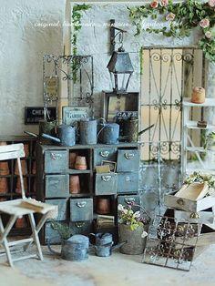 miniature * Garden drawer shelf: natural color of life ~ handmade furniture