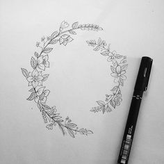 Small two half circles # art #drawing # flowers #tattoo # tattoodesign #leaf #illustration #minimalistic