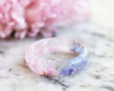 Two Sided Eco Resin Ring Band with Pressed Blue Pink Petals and Gold Flakes