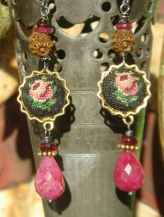 Victorian Rose   Antique Petit Point Assemblage Earrings