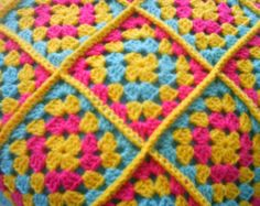 bring the sunshine in - crochet granny square cushion cover / pillow cover
