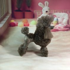 felted miniature poodle (continental clip)