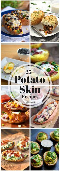 Potato skin recipes for all occasions, even breakfast! via : Potato skin recipes for all occasions, even breakfast! Potato Recipes, Veggie Recipes, Appetizer Recipes, Appetizers, Veggie Meals, Potato Dishes, Protein Recipes, Cake Recipes, Potato Skins Appetizer